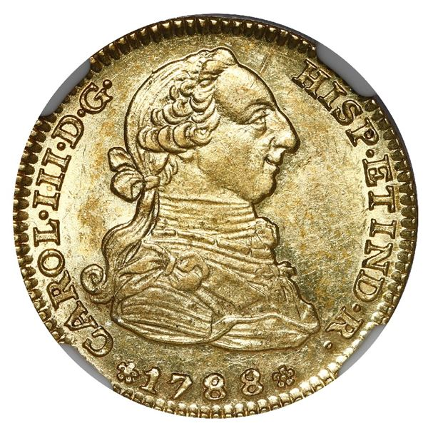 Madrid, Spain, gold bust 2 escudos, Charles III, 1788/78 M/PJ, NGC MS 62, finest known in NGC census