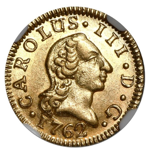 Madrid, Spain, gold bust 1/2 escudo, Charles III, 1762 JP, NGC MS 63, finest known in NGC census.