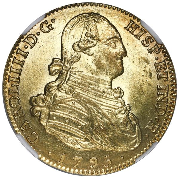 Madrid, Spain, gold bust 4 escudos, Charles IV, 1795 MF, NGC MS 62.