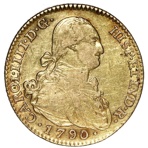 Madrid, Spain, gold bust 2 escudos, Charles IV, 1790 MF.