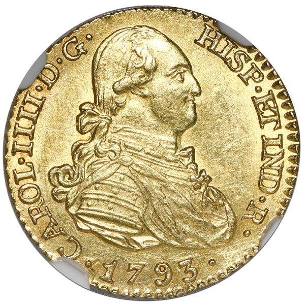 Madrid, Spain, gold bust 1 escudo, Charles IV, 1793 MF, NGC MS 62.