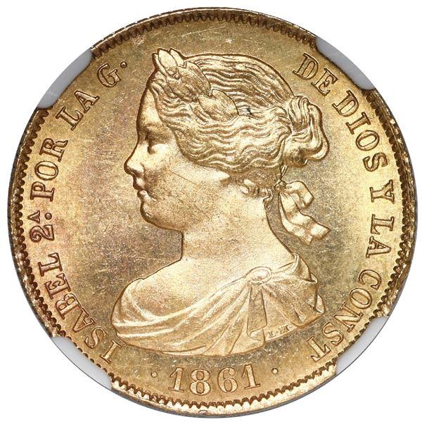 Madrid, Spain, gold 100 reales, Isabel II, 1861, NGC MS 64.
