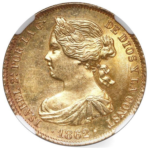 Madrid, Spain, gold 100 reales, Isabel II, 1862, NGC MS 64.