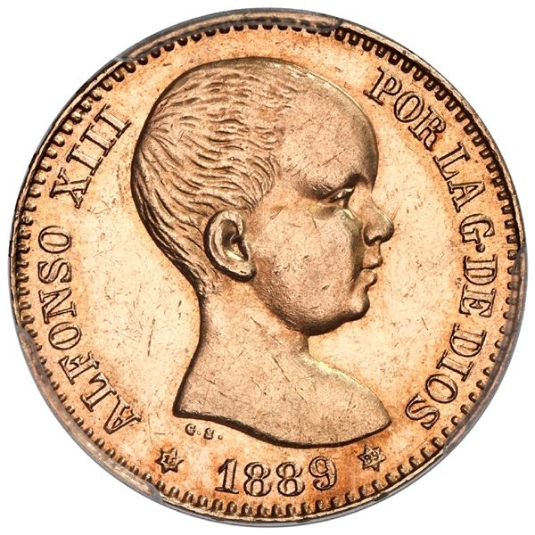 Madrid, Spain, gold 20 pesetas, Alfonso XIII, 1889 MP-M with 18-89 in six-point stars, PCGS MS 62.