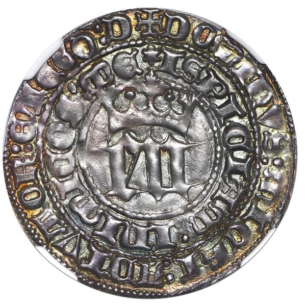 Seville, Spain (Castile and Leon), 1 real, Enrique III (1390-1406), S and three stars at ends of cro
