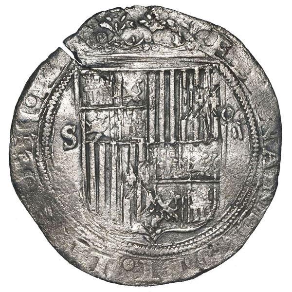 Seville, Spain, 4 reales, Ferdinand-Isabel, mintmark S to left, denomination o-iiii to right, assaye