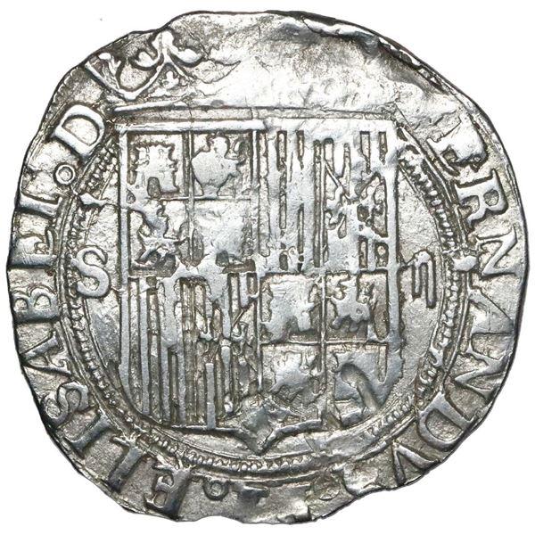 Seville, Spain, 2 reales, Ferdinand-Isabel, mintmark S to left, denomination ii to right, no assayer