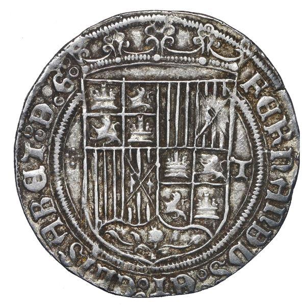 Toledo, Spain, 1 real, Ferdinand-Isabel, assayer five-dot cross to left, mintmark T to right, legend