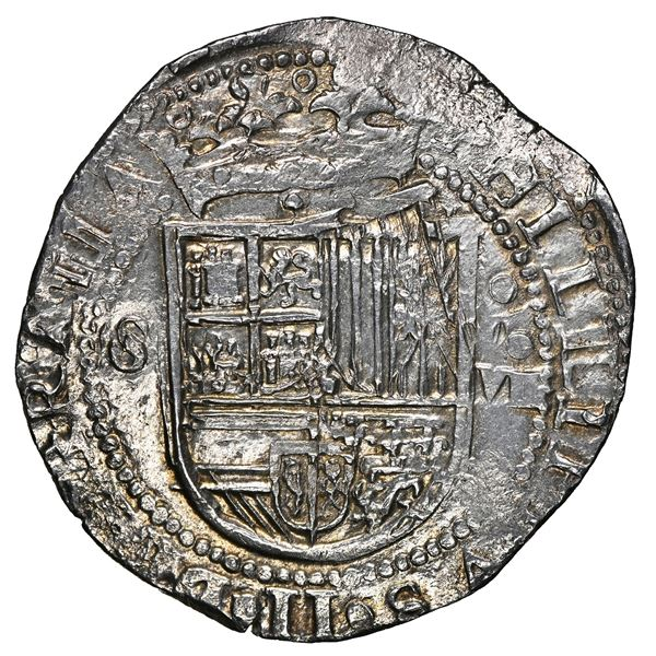Seville, Spain, cob 8 reales, Philip II, assayer Gothic D on reverse, NGC MS 62, finest known in NGC