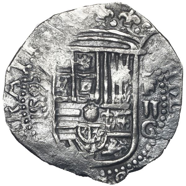 Granada, Spain, cob 2 reales, 1593 date vertically to left, assayer oF to right above denomination a
