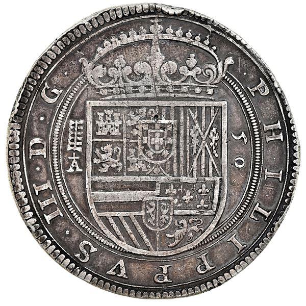 Segovia, Spain, 50 reales (cincuentin), Philip III, 1620, assayer cross-topped A (Esteban de Pedrera