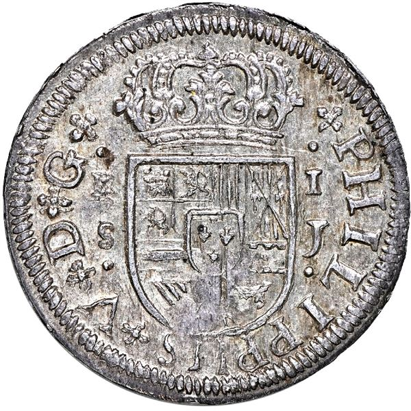 Seville, Spain, milled 1 real, Philip V, 1721 J, NGC MS 64.