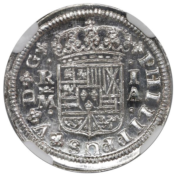 Madrid, Spain, milled 1 real, Philip V, 1726 A, NGC MS 66.
