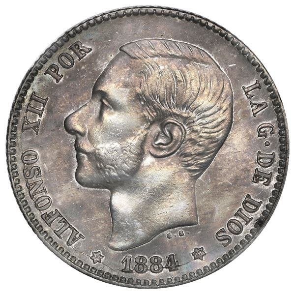 Madrid, Spain, 1 peseta, Alfonso XII, 1884/3 MS-M, with 18-84 inside six-point stars, rare, NGC AU d
