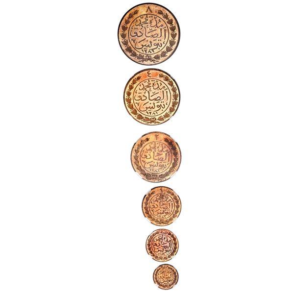 Tunisia (Ottoman Empire), six-piece proof set of copper 8-4-2-1-1/2-1/4 kharub, Abdul Aziz and Muham