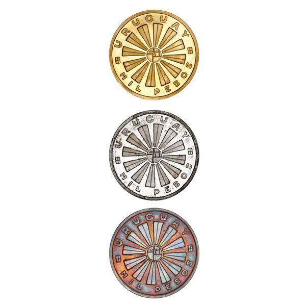 Uruguay (struck at the Santiago Mint), three-coin set of 1000 pesos in various metals, 1969, FAO com