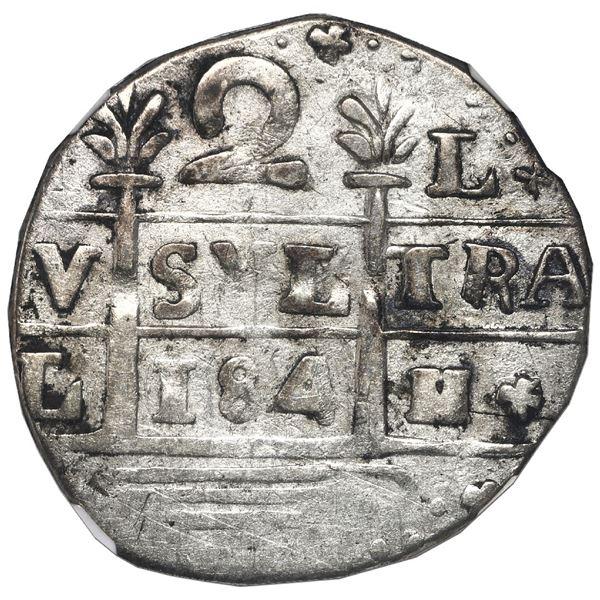 "Caracas, Venezuela, ""imitation cob"" 2 reales, date ""184"" (early 1800s), NGC VF 35."