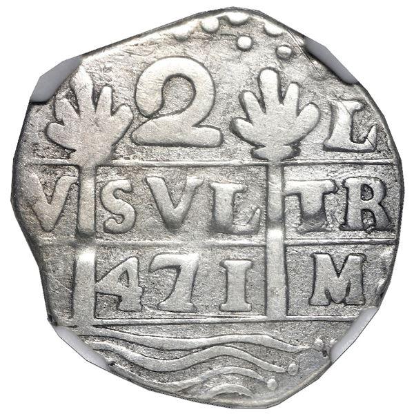 "Caracas, Venezuela, ""imitation cob"" 2 reales, date ""471"" (early 1800s), NGC VF 35."