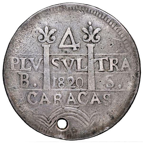 Caracas, Venezuela, 4 reales, Ferdinand VII, 1820 BS, proper quadrants, rare, NGC VF details / holed