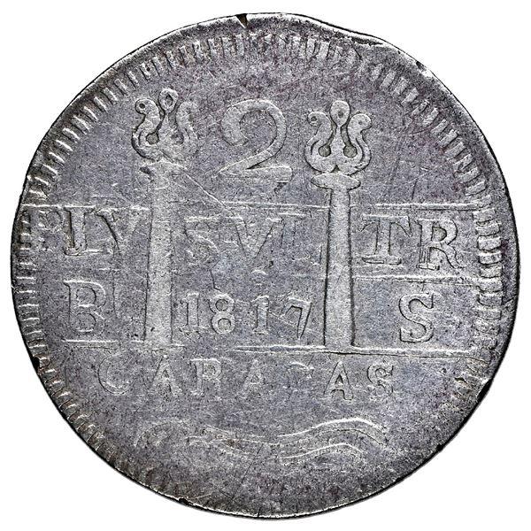 Caracas, Venezuela, 2 reales, Ferdinand VII, 1817 BS, transposed quadrants, NGC VF details / cleaned