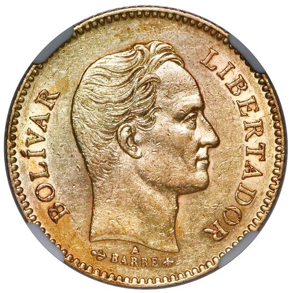 Venezuela (struck at the Paris Mint), gold 5 venezolanos, 1875-A, NGC AU 55.