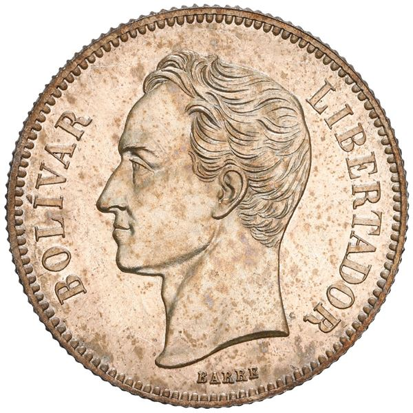 Venezuela, 2 bolivares, 1887, NGC MS 63 PL, finest known in NGC census.