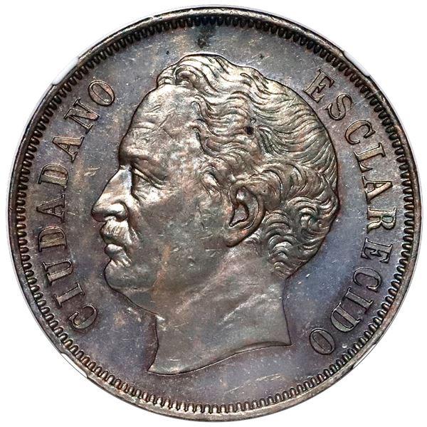 Venezuela, copper essai 2 centavos, 1863-E, NGC SP 62 BN.