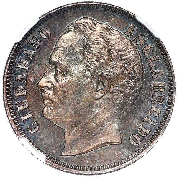 """Venezuela, copper essai 1 centavo, 1863-E, NGC SP 65 BN (""""top pop"""")."""