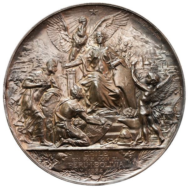 Chile, massive bronze medal, dated 1884 (made in 1885), Peace with Peru and Bolivia (after the War o