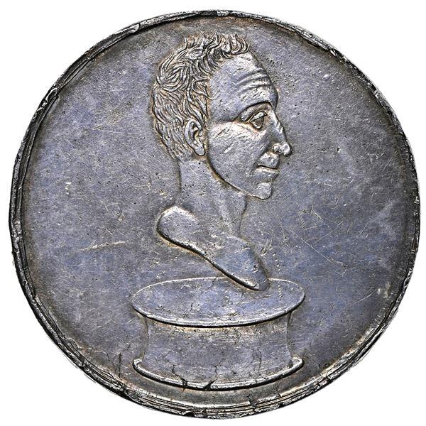 Colombia (Venezuela), large silver medal, dated 1828 (struck 1829), Bolivar saved from assassination