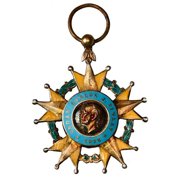 Cuba, enameled gilt silver star decoration (military order) with ball suspension and ring, Carlos J.