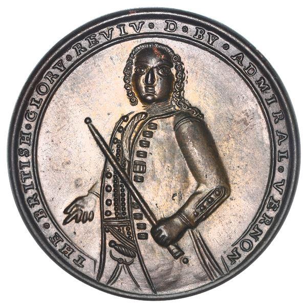 Great Britain, copper alloy Admiral Vernon medal, Vernon / Porto Bello, 1739, ex-Adams (Plate), ex-C