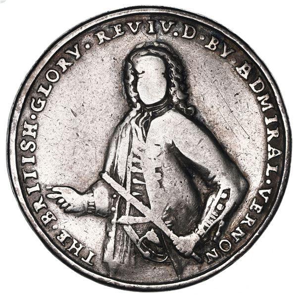 Great Britain, silver Admiral Vernon medal, Vernon / Porto Bello, 1739, ex-Adams, ex-Ford.