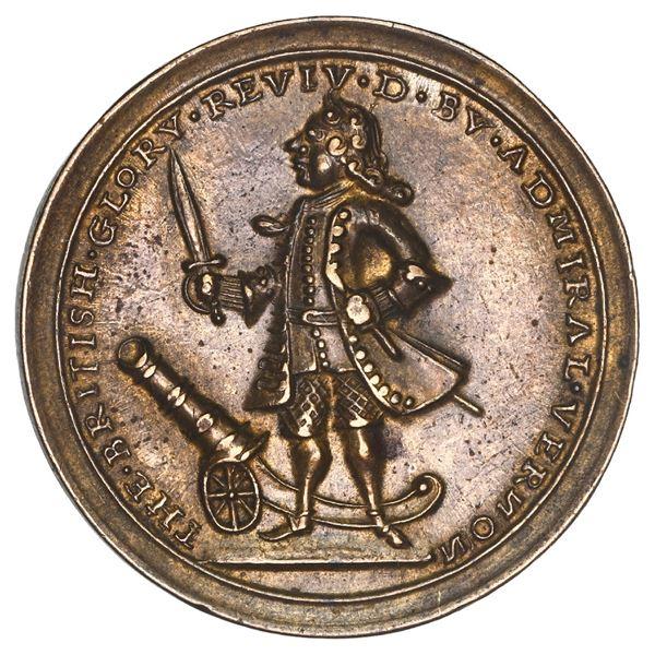 Great Britain, small copper alloy Admiral Vernon medal, Vernon and cannon / Porto Bello, 1739, ex-Ad