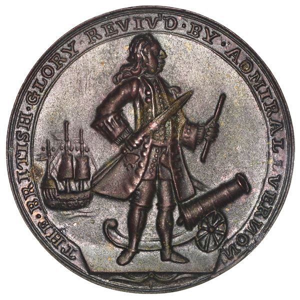 Great Britain, copper alloy Admiral Vernon medal, Vernon with cannon and ship / Porto Bello, 1739, e