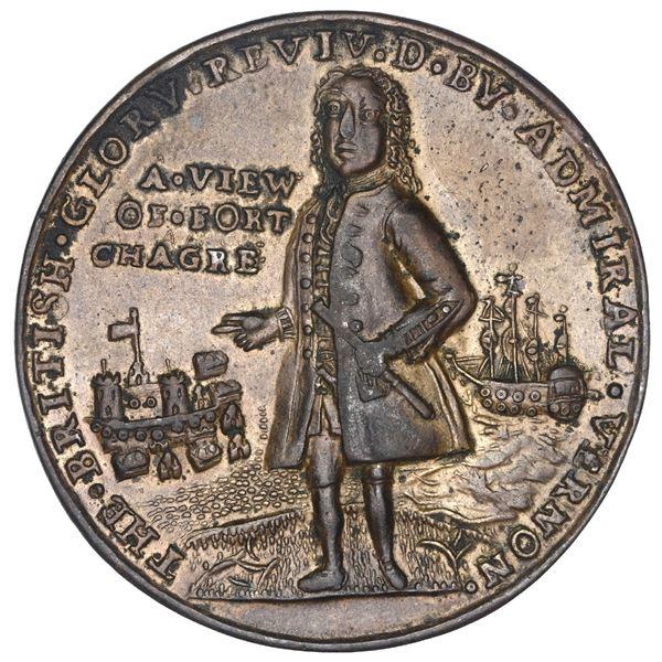 Great Britain, copper alloy Admiral Vernon medal, Vernon and Fort Chagre / Porto Bello, 1739, ex-Ada
