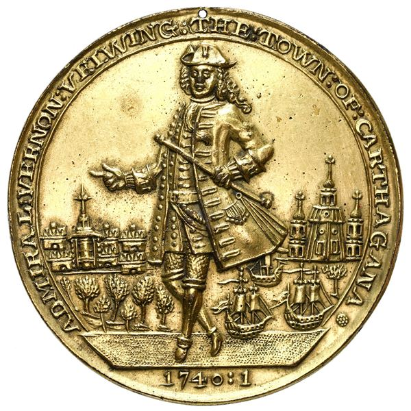 Great Britain, gilt copper alloy Admiral Vernon medal, Vernon with city and ships / Cartagena, 1741,