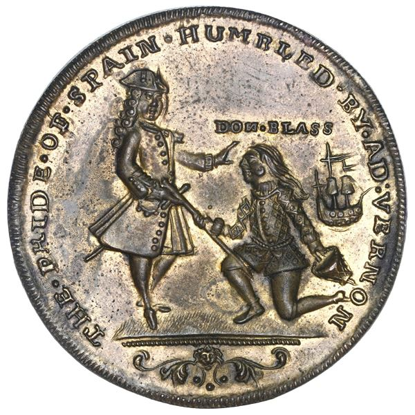 Great Britain, copper alloy Admiral Vernon medal, Vernon and Lezo / Cartagena, 1741, ex-Adams, ex-Ch