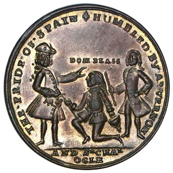 Great Britain, copper alloy Admiral Vernon medal, Vernon and Ogle with Lezo / Cartagena, 1741, ex-Ad