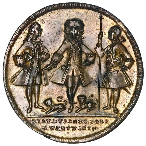 Great Britain, copper alloy Admiral Vernon medal, Vernon with Ogle and Wentworth / Cartagena, 1741,
