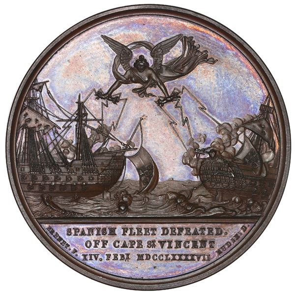 Great Britain, copper medal, Spanish Fleet defeated off Cape St. Vincent, 1797 (struck in 1820), by
