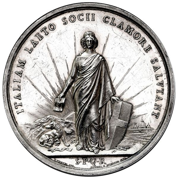 Milan, Italy (Kingdom), large silver medal, 1870, commemorating the annexation of Rome and Lazio to
