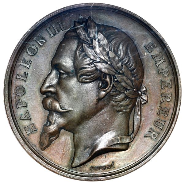 Martinique (struck at the Paris Mint), bronze medal, dated 1860, creation of the dry-dock in Fort-de