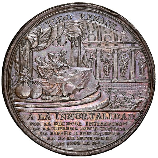 Mexico, large bronze medal, 1809, establishment of the Supreme Junta General of Spain in the Indies,