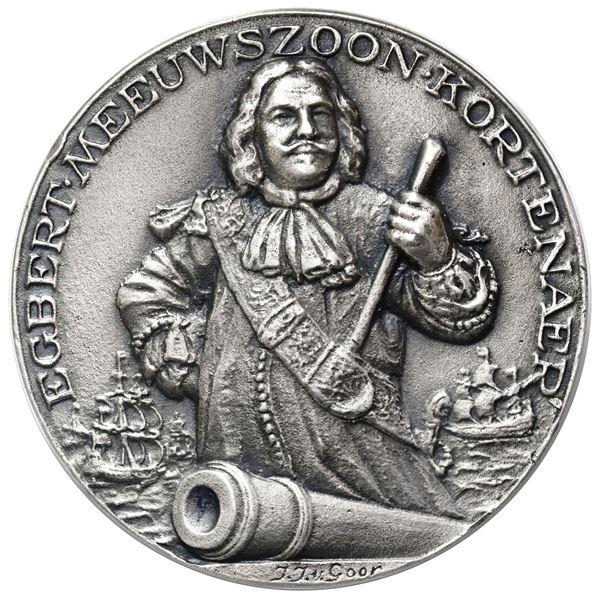 Netherlands, large cast silver medal, Egbert Meeuwszoon Kortenaer, dated 1665 (struck 1938), by J.J.