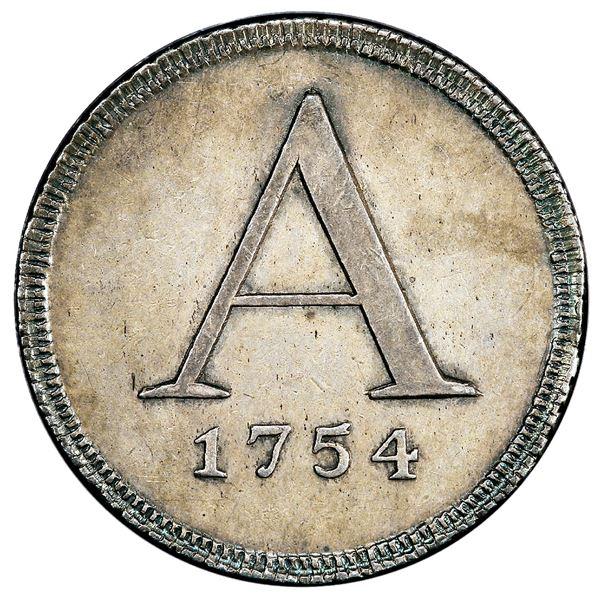 Peru, 4R-sized silver medal, 1754 date below large A, San Marcos Academy, PCGS AU55.
