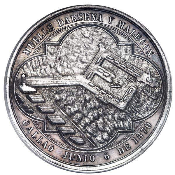 Peru, thick silver medal, 1870, Callao docks, NGC AU 58.