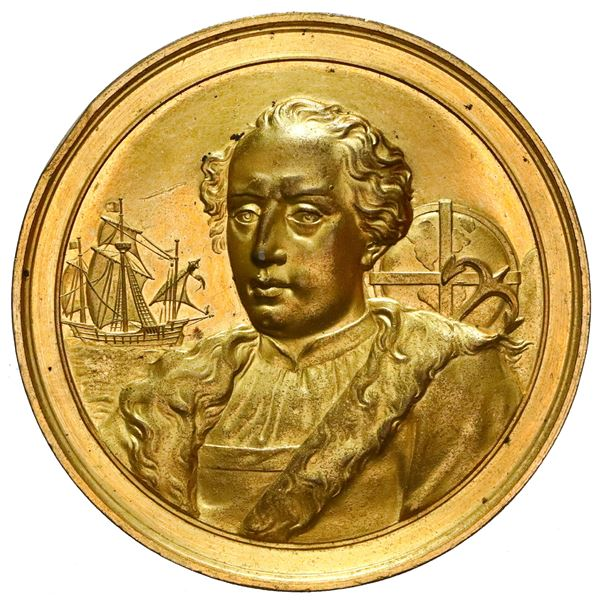 Puerto Rico (under Spain), large gilt copper medal, 1893, first place prize at an exposition for the