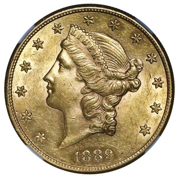 USA (San Francisco mint), $20 coronet Liberty double eagle, 1889-S, NGC AU 55.