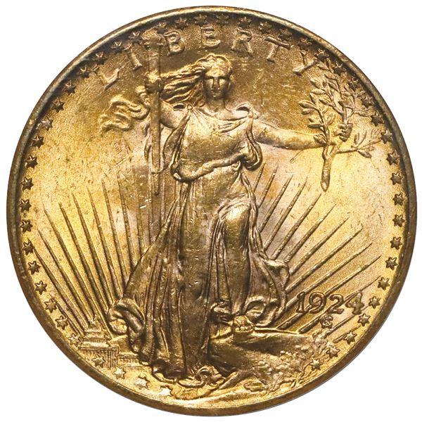 USA (Philadelphia Mint) $20 Saint-Gaudens double eagle, 1924, NGC MS 63 (older holder).